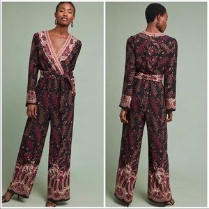 🆕NWT 70s style boho embroidered deep v jumpsuit